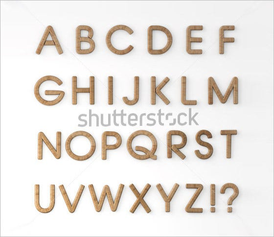 scaleable wood alphabet letters