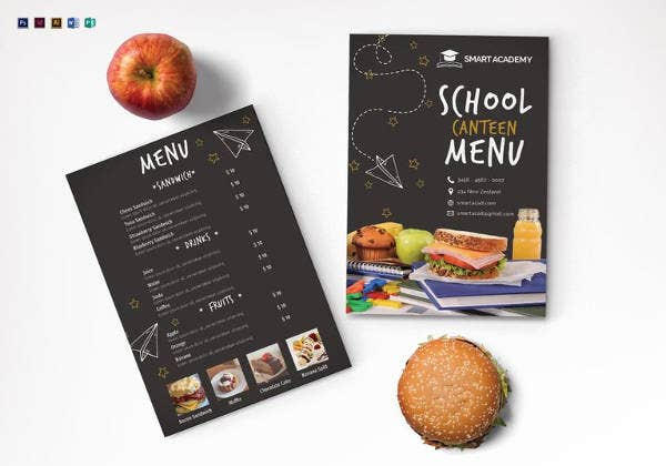 school canteen menu template in psd