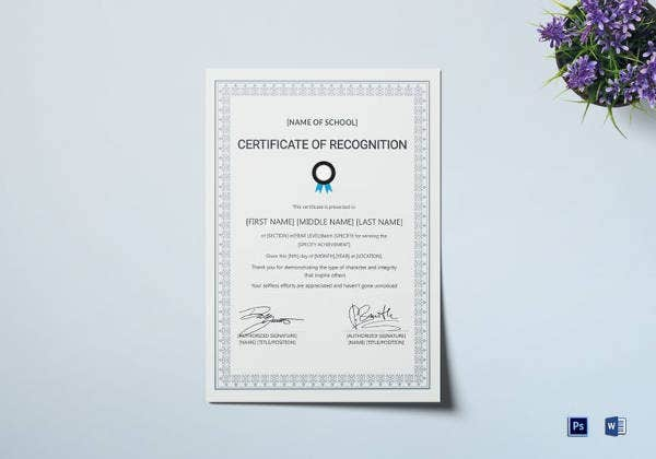 school certificate of recognition template in word