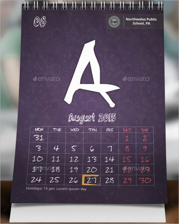 school desk calendar template