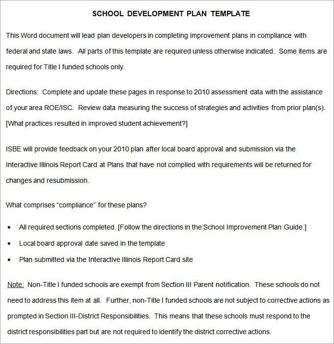 Secondary School Development Plan Template