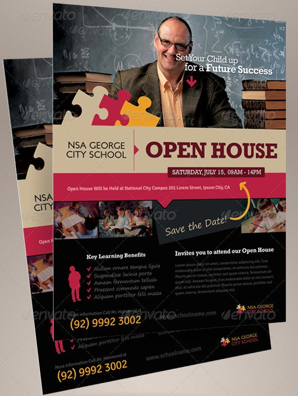 School Open Flyer Template  Open House Flyer Template