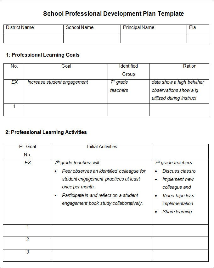 school professional development plan template