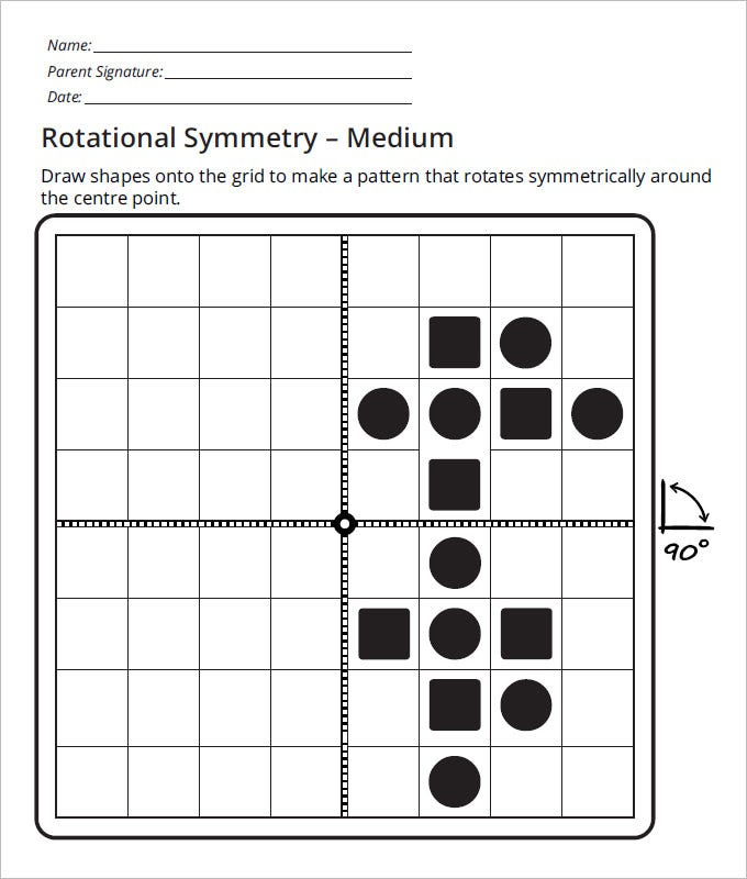school rotational symmetry worksheets template