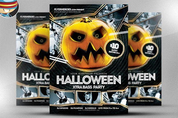 seamless halloween night club flyer template