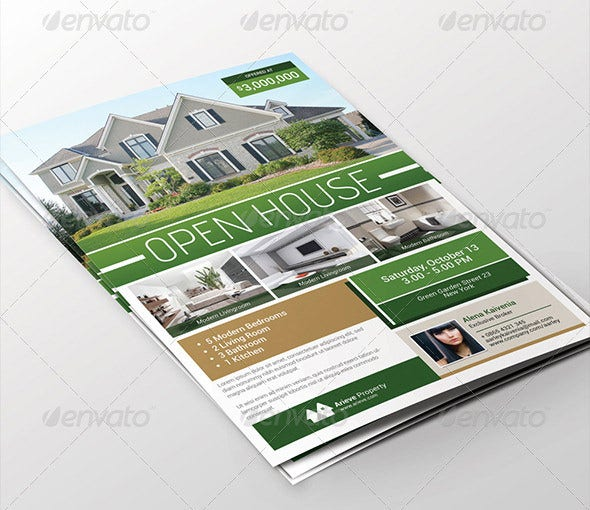 seamless open house flyer template
