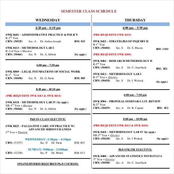 Semester Class Schedule Template - Neptun