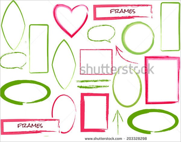 set of brush frames isolated