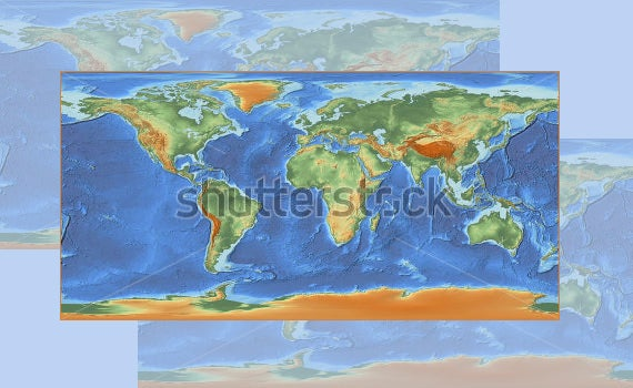 shaded world map poster