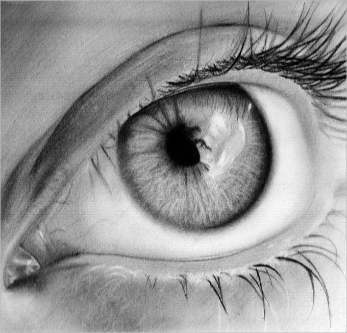 Shallow eye pencil drawing