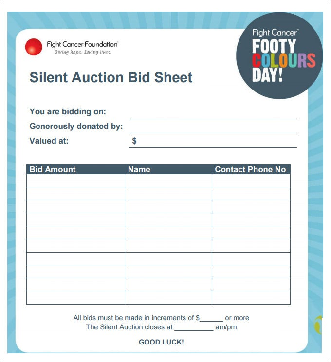 silent auction bid sheet template pdf download