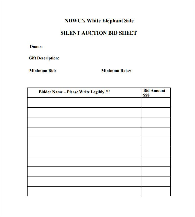 silent auction bid sheet template pdf free download