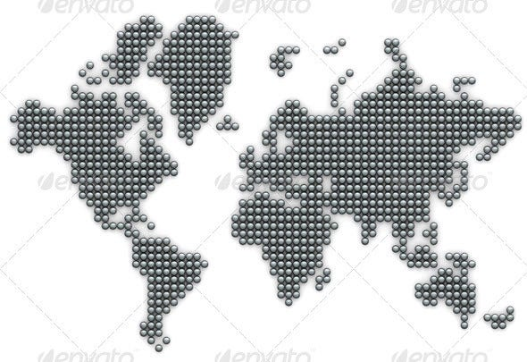 silver ball world map poster