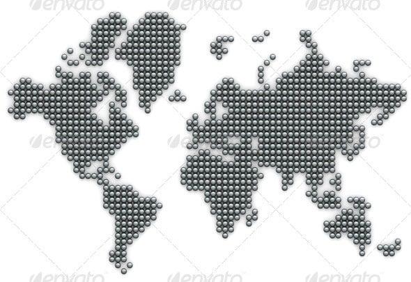 silver ball world map poster