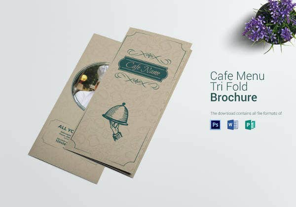 simple cafe menu tri fold template
