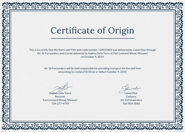 simple certificate of origin template