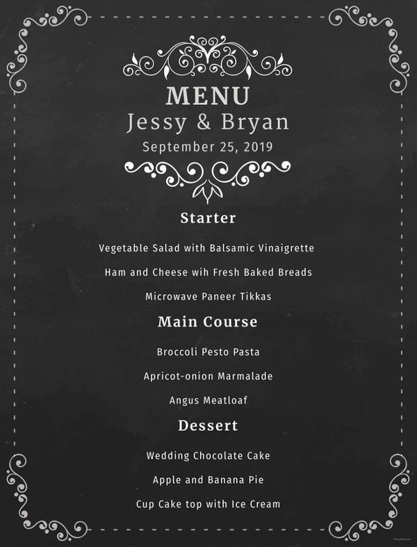 simple chalkboard wedding menu template