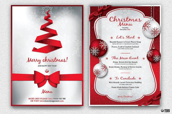 simple christmas menu template to print