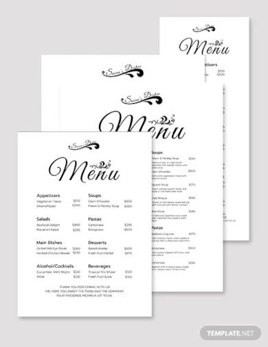 simple dinner menu template1