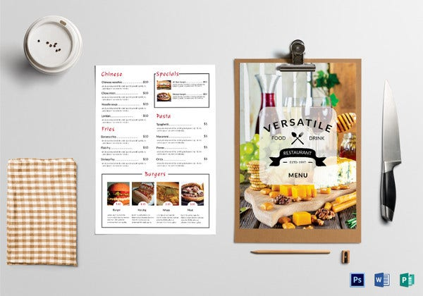 simple food menu photoshop template