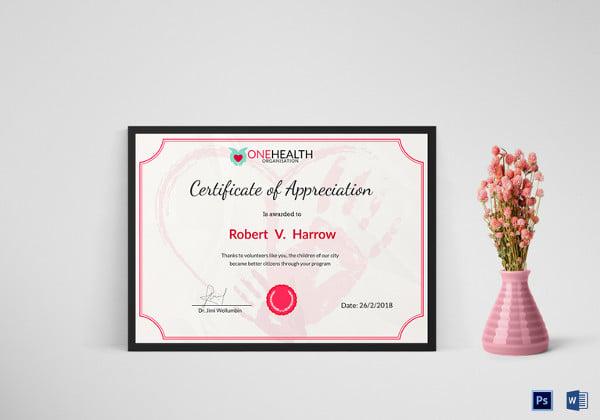 simple health appreciation certificate template