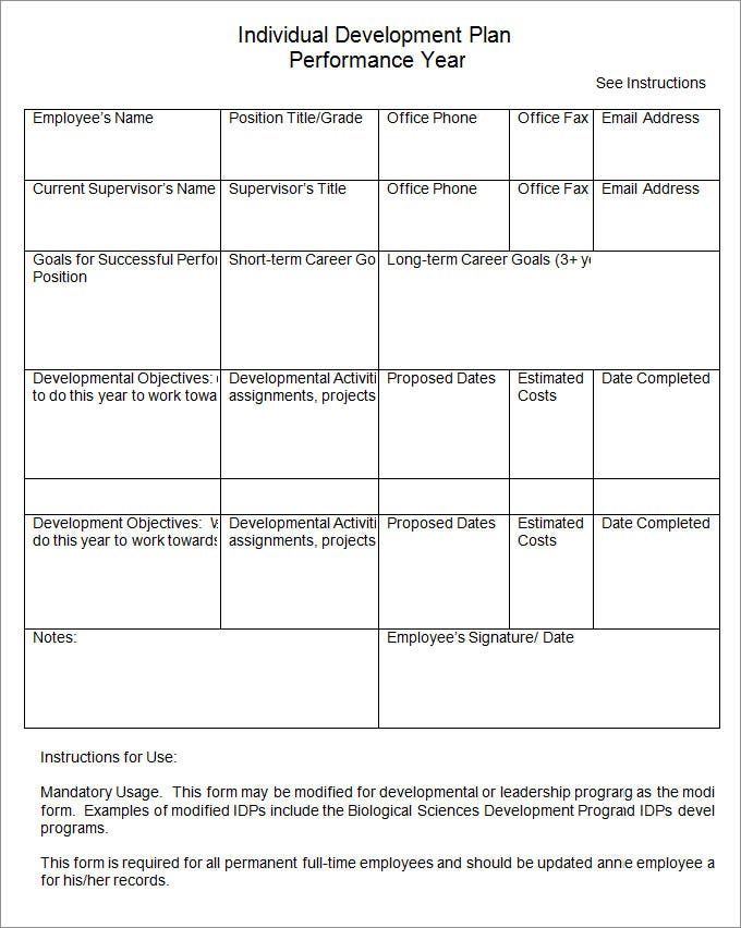 Individual Development Plan Individual Development Plan Template EdL0rQCa