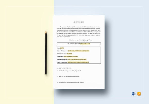 Simple Job Analysis Form Template  Job Analysis Template Word