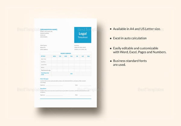simple legal and lawyer timesheet template
