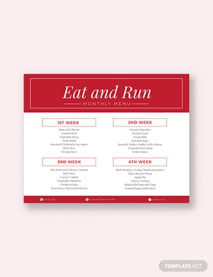 simple monthly menu planner template