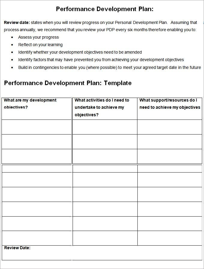 Good Performance Management Development Plan  Employee Personal Development Plan Template