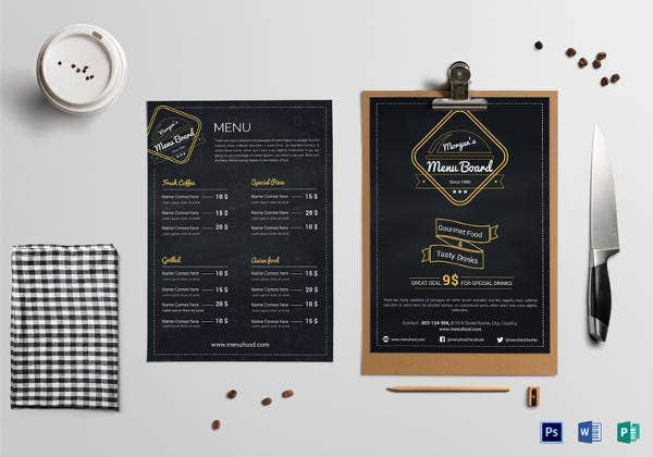 simple restaurant menu food drinks board template