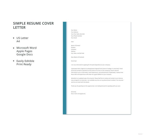 simple resume cover letter template