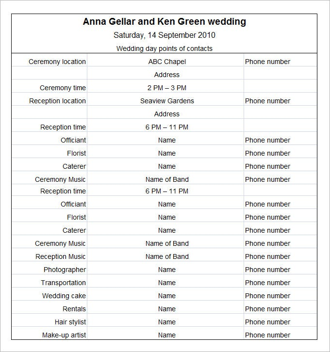 Wedding Schedule Template - 5 Free Word, Pdf, Excel Documents Download