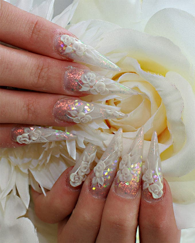 30 amazing wedding nail designs for every bride free premium simple wedding nail design prinsesfo Images