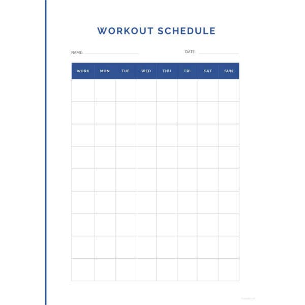 simple workout schedule template