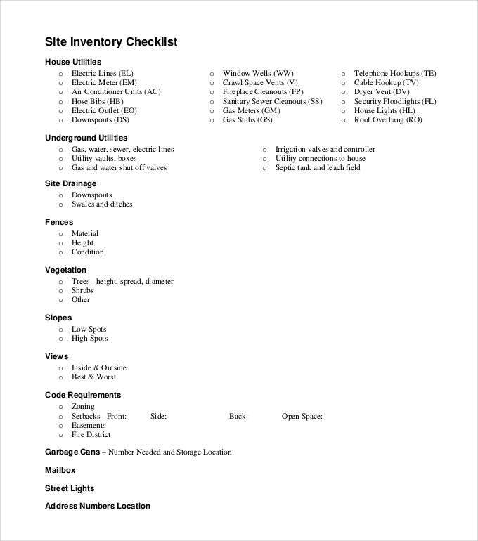 site-inventory-checklist