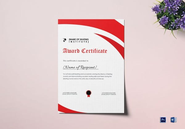 skating award certificate template