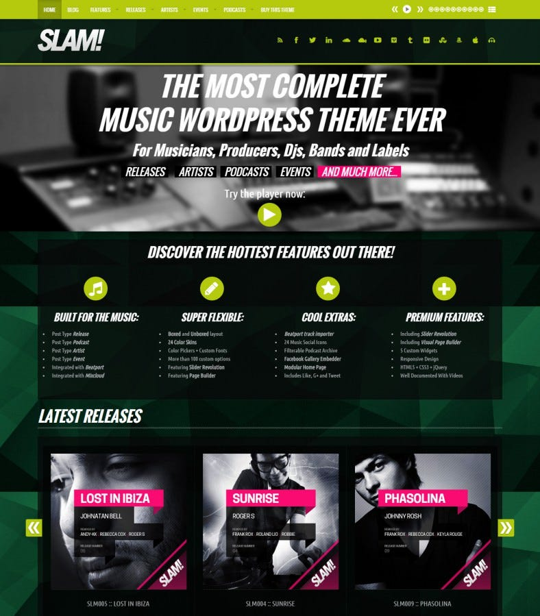 20+ Best DJ WordPress Website Templates & Themes | Free & Premium ...