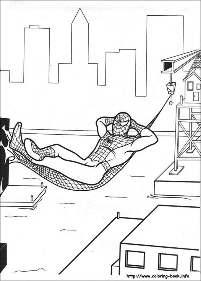 sleeping spiderman coloring page