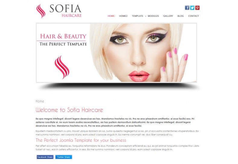 sofia makeup artist joomla template 788x545