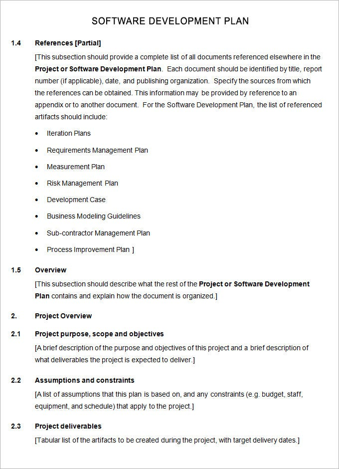software development plan template free