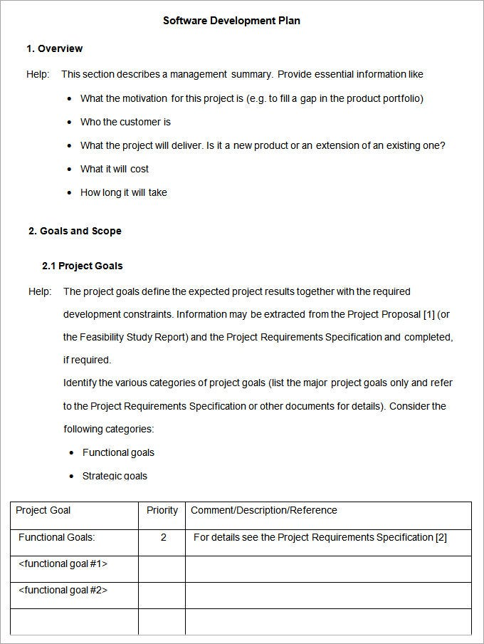 software project proposal template word - software development plan template free premium templates