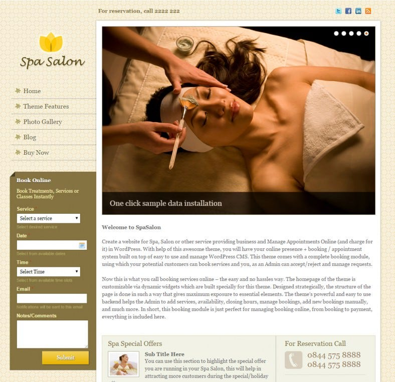 Spa Salon Wp Theme