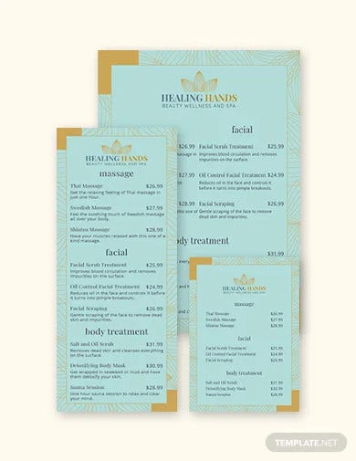 spa service menu template