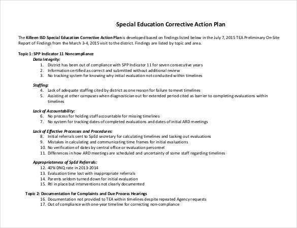 special education corrective action plan