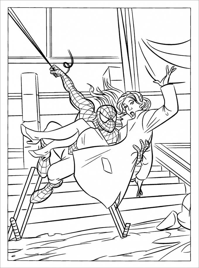 spiderman coloring page saving marie jane