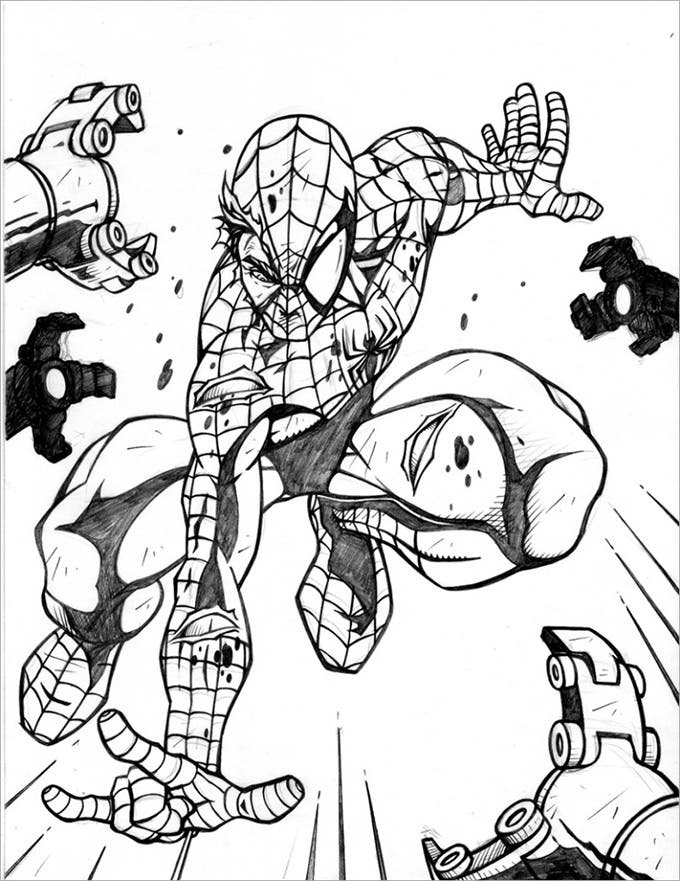 spiderman fighting coloring page