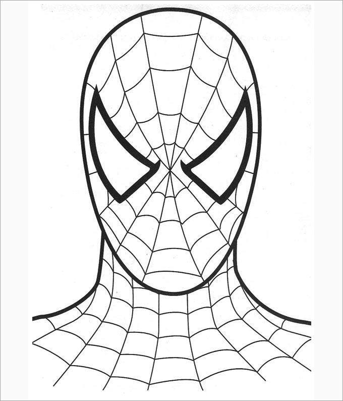 spiderman only face coloring page