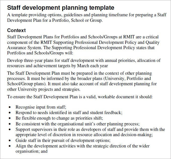 Staff Development Plan Template Development Plan