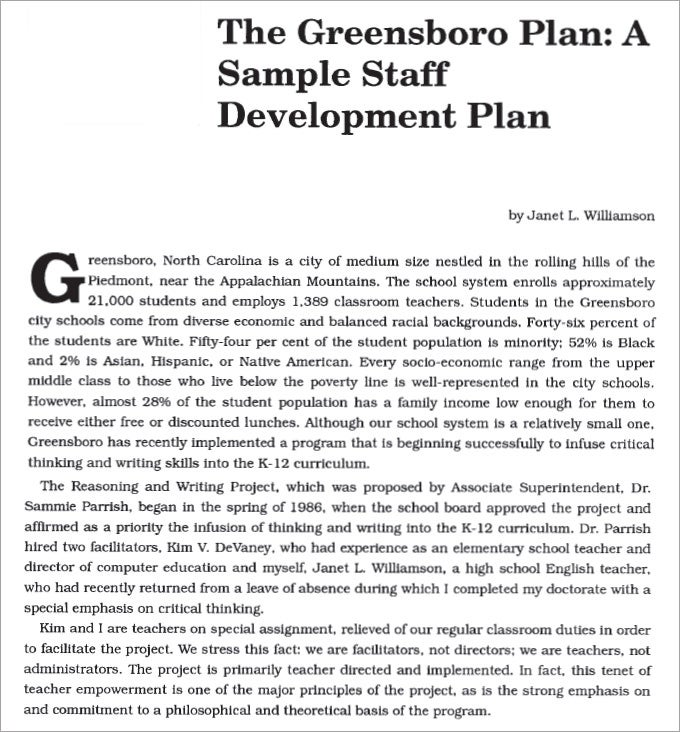 staff development plans